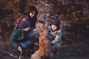 Dog with family outdoors